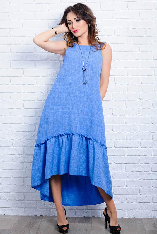 Летнее льняное платья - Гортензия - голубой