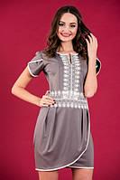 Короткое нарядное платье Серое