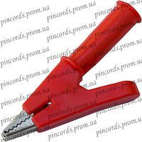 Зажим под щуп тестерный длина 50мм, пластиковый, красный