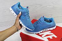 Женские кроссовки Nike Free Run 3.0, (6 цветов), Голубые, Сетка, Подошва пена, фото 1