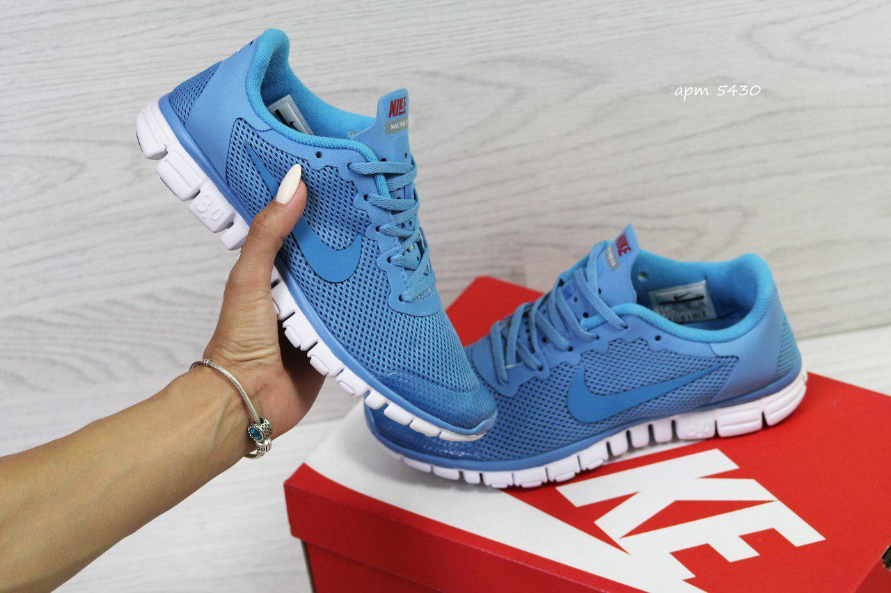 Женские кроссовки Nike Free Run 3.0, (6 цветов), Голубые, Сетка, Подошва пена