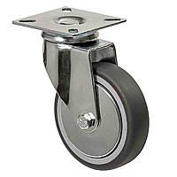 Аппаратные колеса поворотные с площадкой на серой резине диаметром 100 мм