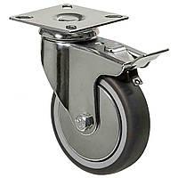 Аппаратные колеса поворотные с площадкой и тормозом на серой резине диаметром 100 мм