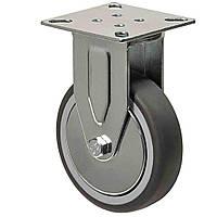 Аппаратные колеса неповоротные с площадкой на серой резине диаметром 100 мм