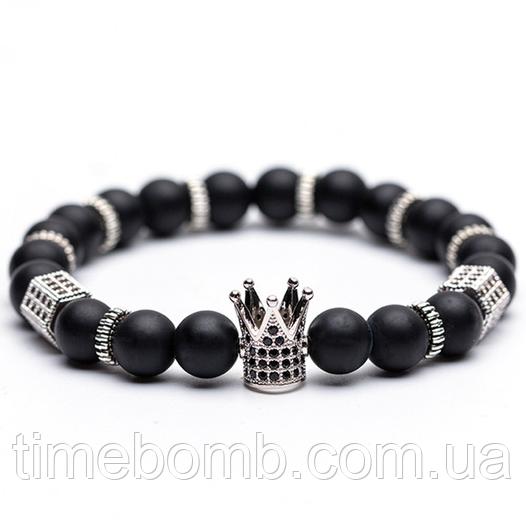 Мужской браслет Серая Корона из камня агат (17 см)