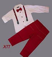 Нарядный костюм для мальчика с бабочкой и подтяжками Турция р. 5, фото 1