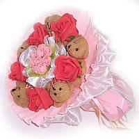 Букет из мягких игрушек Мишки 5 коричневых с розами