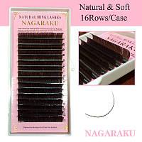 Коричневые ресницы Nagaraku 16 линий для наращивания на ленте
