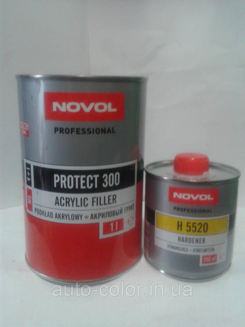 Грунт акриловий 4+1 PROTECT 300 Novol (1л) + затверджувач (0,25 л), сірий