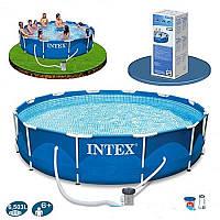 Круглый каркасный бассейн Metal Frame Pool Intex 28712 366 x98 см с фильтр-насосом и лестницей
