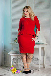 Платье больших размеров 50+ приталенное красное украшено баской и бусинами арт 207/3-126