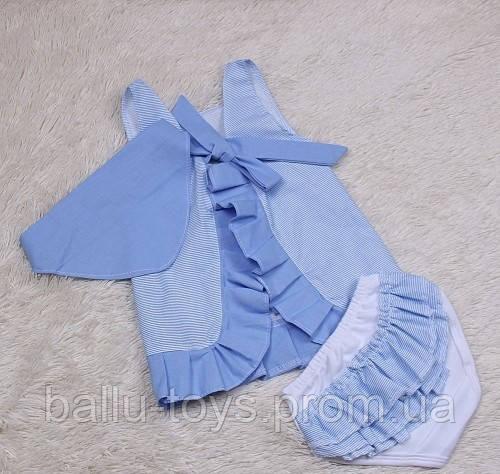 Комплект летний для девочек Пироженка (голубой) (6-24 мес)