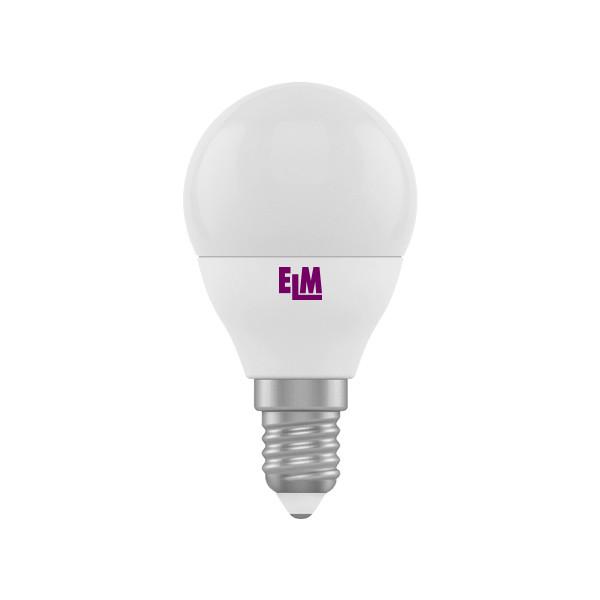 LED лампа светодиодная E14, 4W, 3000K, G45, ELM, 320 lm, 220V (18-0082