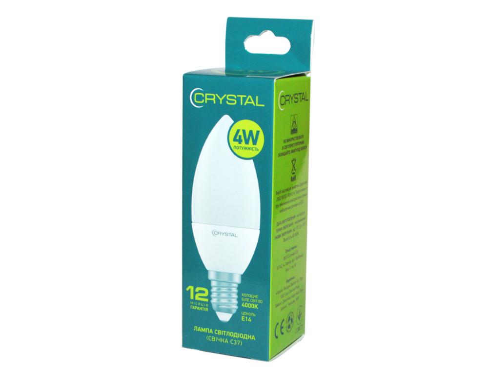 LED лампа светодиодная E14, 4W, 4000K, C37, Crystal, 320 lm, 220V (C37