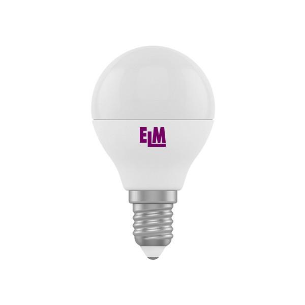 LED лампа светодиодная E14, 4W, 4000K, G45, ELM, 330 lm, 220V (18-0083