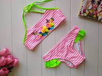 Раздельный купальник для девочки в полоску с цветочным принтом 28-34 р