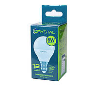 LED лампа светодиодная E14, 6W, 4000K, G45, Crystal, 620 lm, 220V (G45-003), энергосберегающая эконом лед лампа