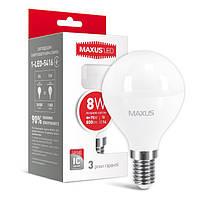 LED лампа светодиодная E14, 8W, 4100K, G45, Maxus, 800 lm, 220V (1-LED-5416), энергосберегающая эконом лед лампа