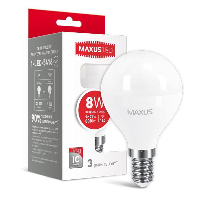 LED лампа светодиодная E14, 8W, 4100K, G45, Maxus, 800 lm, 220V (1-LED