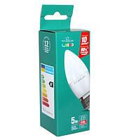 LED лампа светодиодная E27, 5W, 4100K, C37, Titanum, 420 lm, 220V (TL-C37-05274), энергосберегающая эконом лед лампа