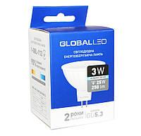 LED лампа светодиодная GU5.3, 3W, 4100K, MR16, Global, 250 lm, 220V (1-GBL-112), энергосберегающая эконом лед лампа