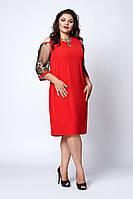 Элегантное красное платье с рукавами из сетки с вышивкой размер 52,54,56,58