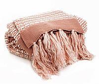 Постельный комплект с вязаным пледом Gelin Home  JANET евро розовый