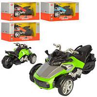 Машинка 998-11A (144шт) трицикл, 13,5см, свет, звук, 4цвета, на бат-ке(таб), в кор-ке, 17-8-9см