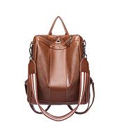 Многофункциональный вместительный рюкзак коричневый женский код 3-372