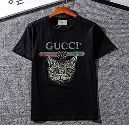 Футболка Gucci чёрная (гуччи с принтом кота женская)