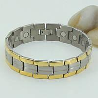Георг - стальной, магнитный браслет для мужчин с позолотой, фото 1