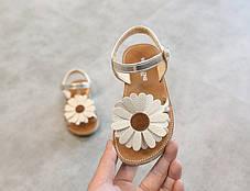 Босоножки для девочки золотые с цветком, фото 3