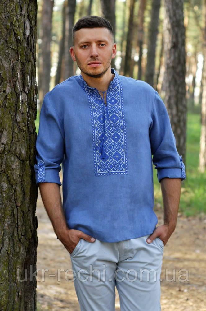 Рубашка с вышивкой в джинсовом стиле
