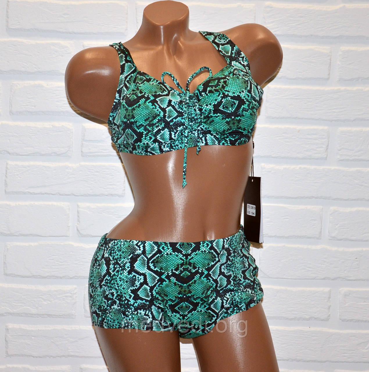 Большой 60 размер для пышных женщин, раздельный зеленый купальник батал, рисунок змеиная кожа, на шнуровке