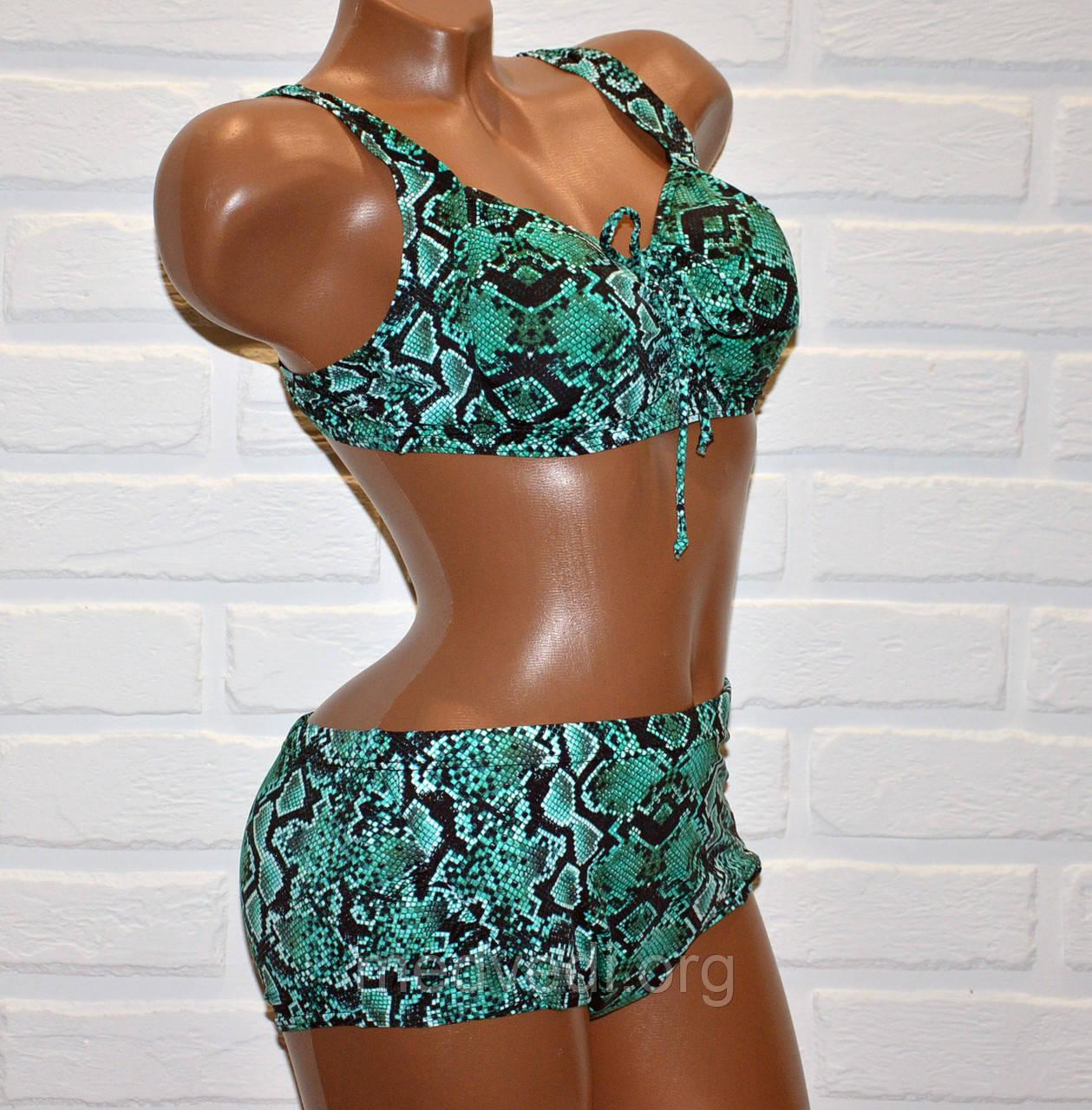 Большой 62 размер для пышных женщин, раздельный зеленый купальник батал, рисунок змеиная кожа, на шнуровке