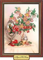 Схема для вышивки бисером «Ваза с цветами на столе»