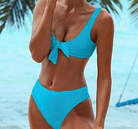 Молодежный женский голубой купальник со стрингами