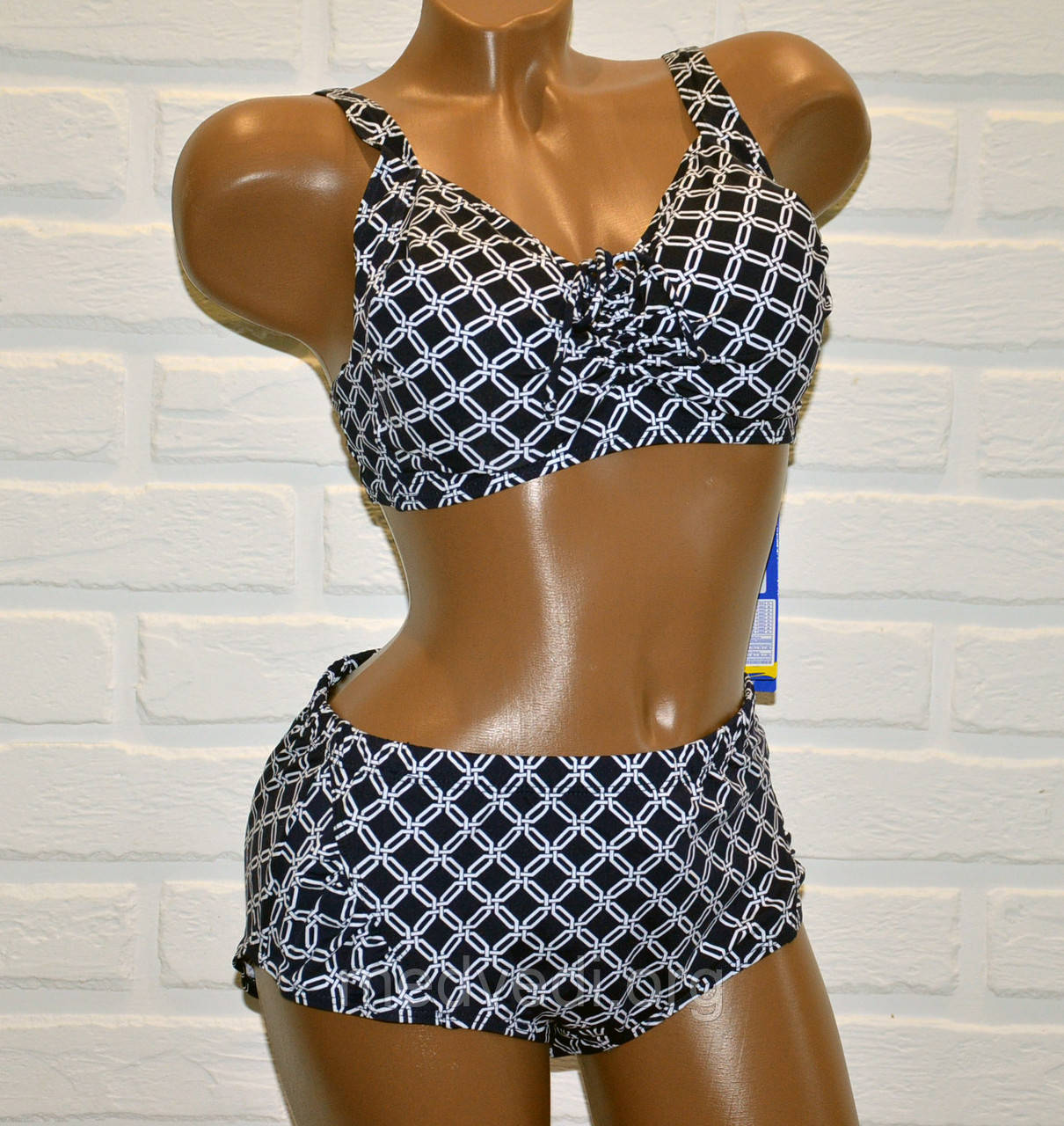 Большой 58 размер для пышных женщин, раздельный синий купальник батал, рисунок геометрический, на шнуровке