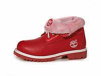 Женские ботинки Timberland Roll Top красные с мехом