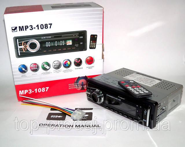 Автомагнитола Pioneer 1087, Магнитола с подсветкой, Автомагнитола со сьемной панелью, Магнитола автомобильная