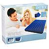 Матрас INTEX 68765 Велюровый 203-152-22см +две подушки и насос, синий, балон, фото 3