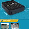 Двуспальная надувная кровать Intex 64124 203х152х42 см велюровая со встроенным насосом 220V/В, фото 2