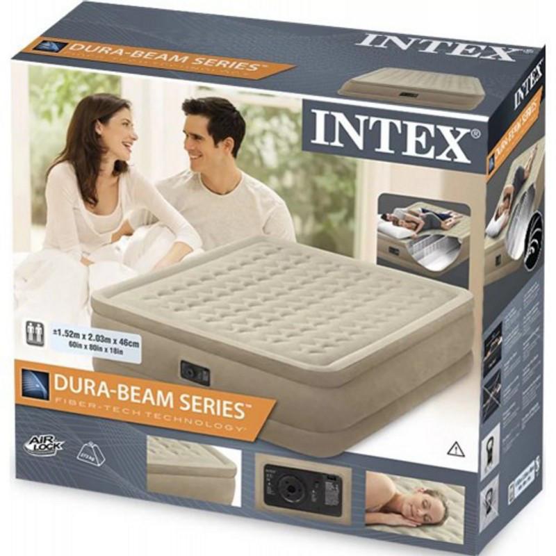 Двуспальная надувная кровать Intex 64458 203х152х46 см велюровая со встроенным насосом 220V/В