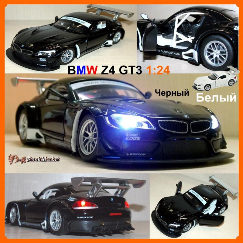 BMW Z4 GT3 1:24 длина 19,5см Черный/Белый