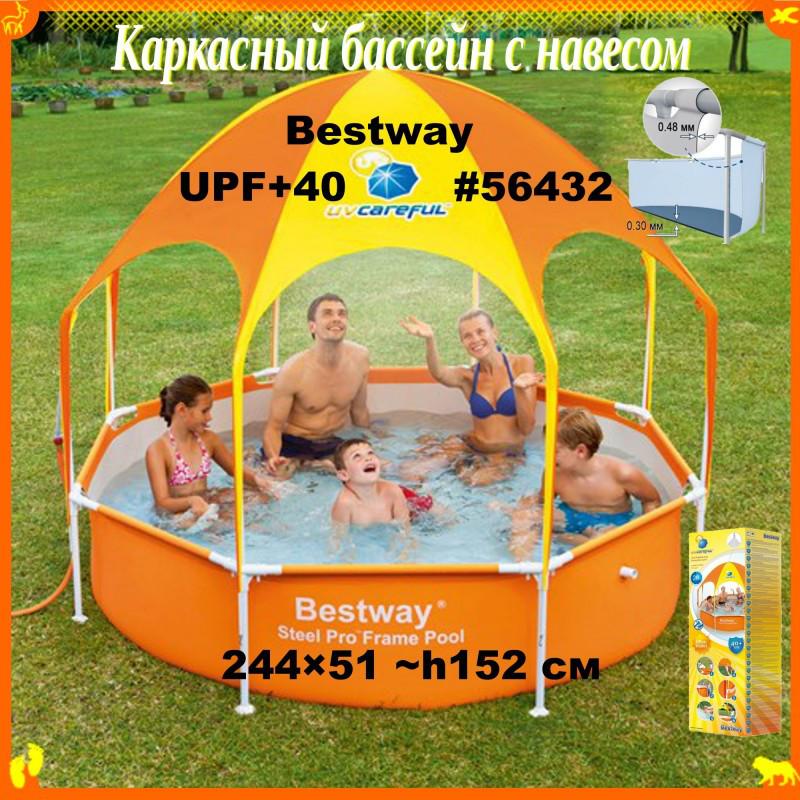 Каркасный бассейн с крышей/тентом/навесом UPF 40+ размером 244 × 51 см