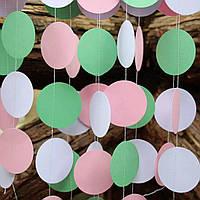 Бумажная гирлянда из кругов, 2 метра белый+мятный+нежно-розовый
