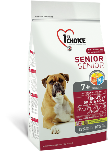 Сухой корм для пожилых собак всех пород 1st Choice с ягненком и океанической рыбой 2,72 кг