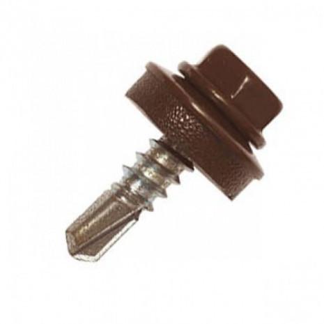Саморез кровельный по металлу 4,8х19 RAL 8017 (Коричневый)