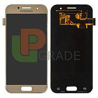 Дисплей для Samsung A320F Galaxy A3 (2017) + тачскрин, золотистый, Gold Sand, OLED, копия хорошего качества