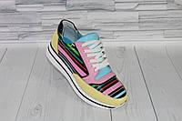 Яркие разноцветные кроссовки. Натуральная кожа 1902